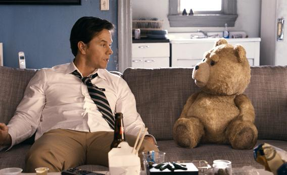 John (Mark Wahlberg) hangs out with his best friend Ted (voiced by Seth MacFarlane), inTed