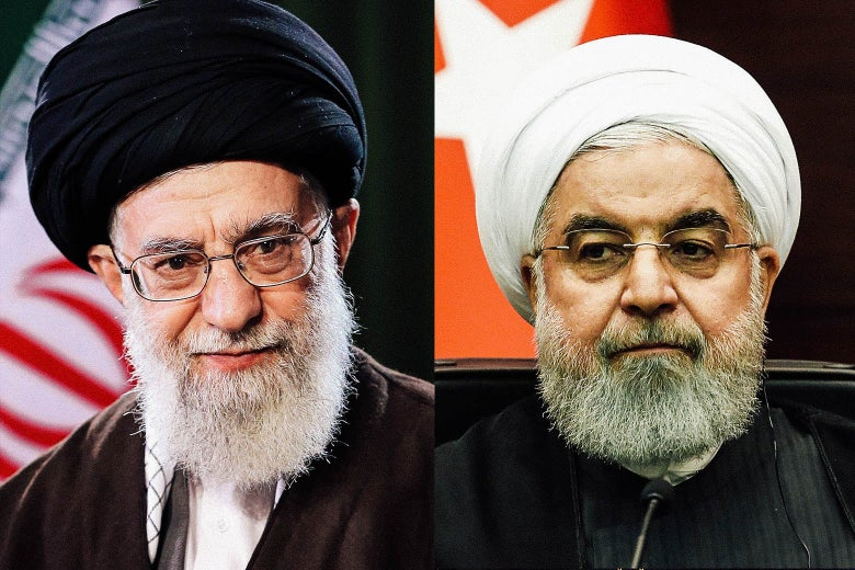 Side-by-side images of Ali Khamenei and Hassan Rouhani