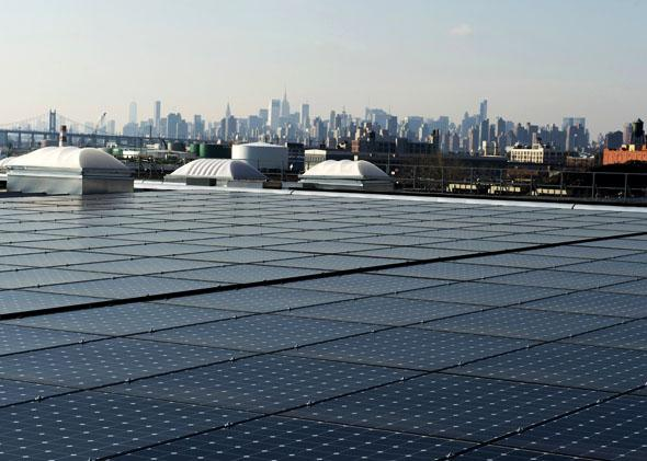 The rooftop of Jetro Restaurant Depot in the Bronx is covered with solar panels, seen here on Jan. 17, 2014.