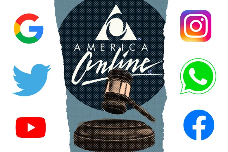 The American Online logo is seen in the center, above a judge's gavel. The Google, Twitter, and YouTube logos are seen on the left side, and the Instagram, WhatsApp, and Facebook logos are seen on the right side.