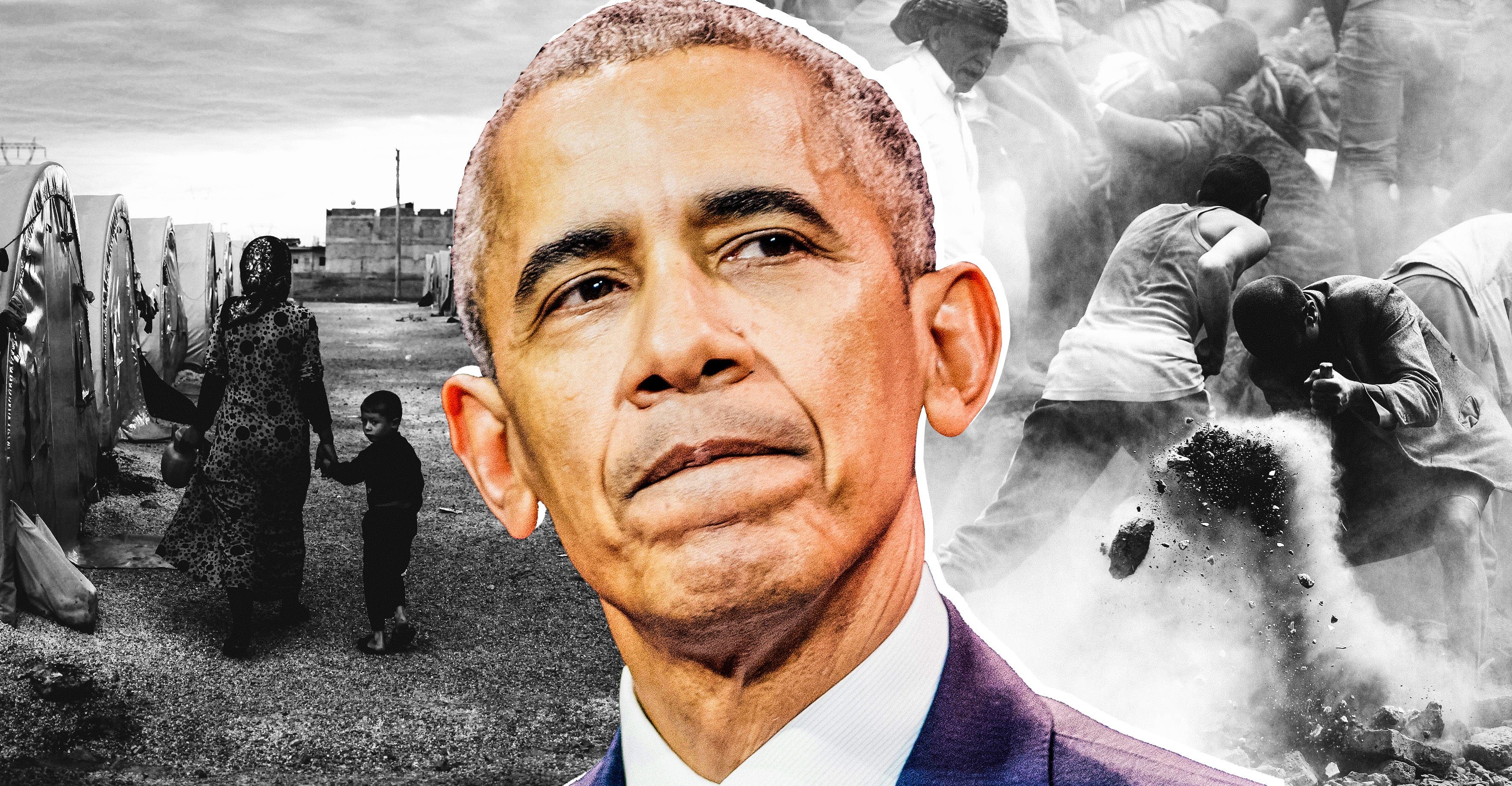 Photo illustration: The face of former President Barack Obama is superimposed on images of a conflict in the Middle East. Photo illustration by Slate. Photos by Gokhan Sahin/Getty Images, Stephane Cardinale - Corbis/Corbis via Getty Images, and Mohammed Huwais/AFP/Getty Images.