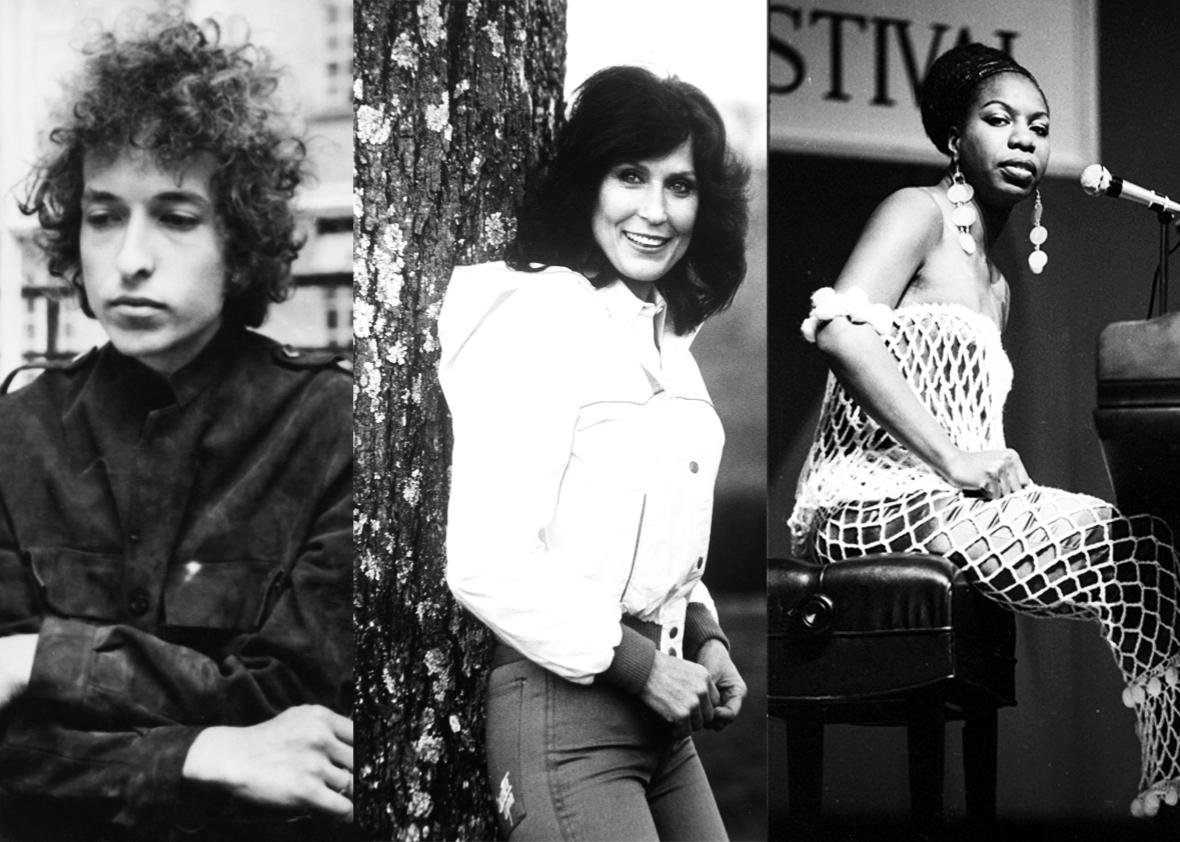 Bob Dylan, Loretta Lynn, and Nina Simone.