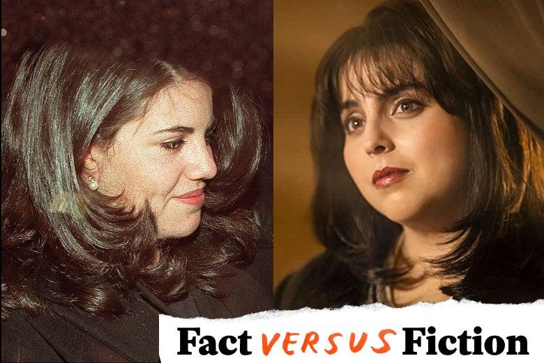 Monica Lewinsky and Beanie Feldstein as Monica Lewinsky.