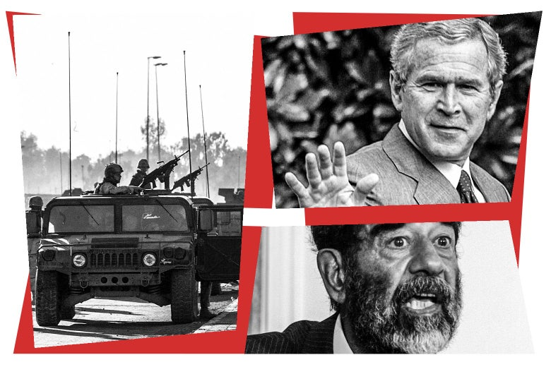 Soldiers in cars, George W. Bush, and Saddam Hussein