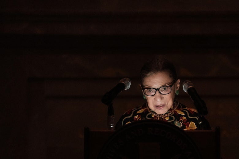 Supreme Court Justice Ruth Bader Ginsburg speaks during a naturalization ceremony at the Rotunda of the National Archives December 14, 2018 in Washington, D.C.