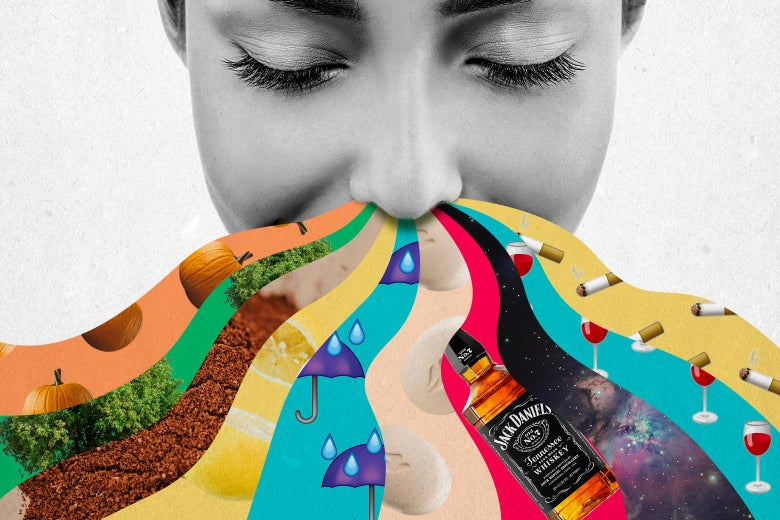 A woman inhaling scents depicted as colorful waves of pumpkins, trees, spices, lemons, umbrellas, soap, Jack Daniels whiskey, the Orion Nebula, glasses of red wine, and cigarettes.