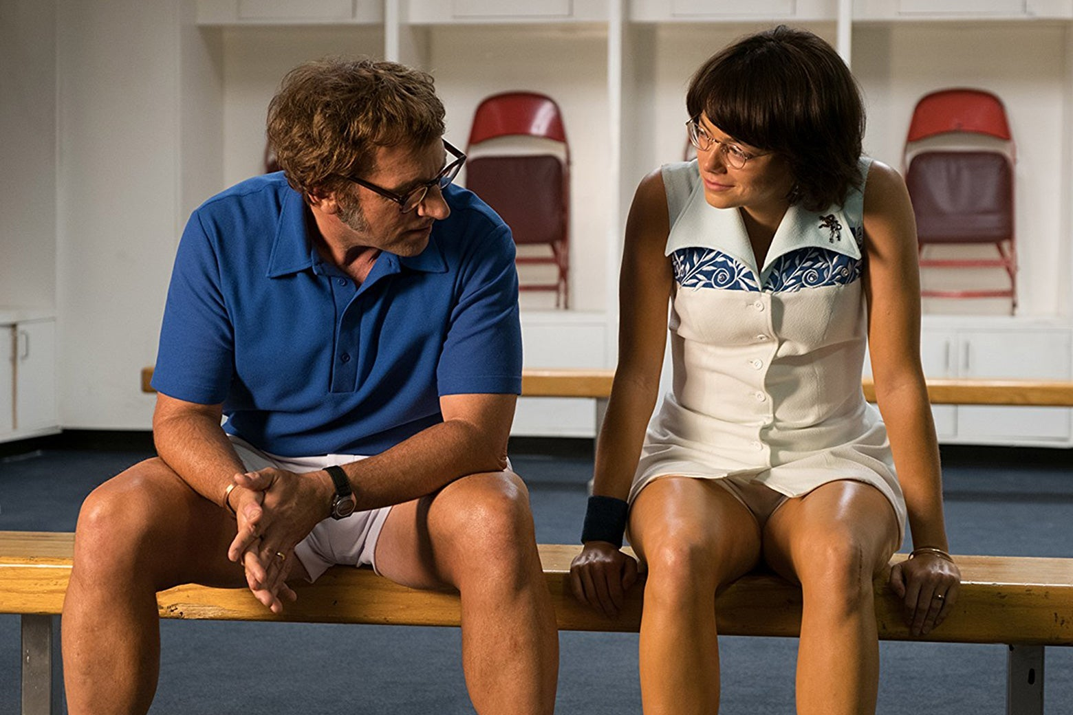 Steve Carell and Emma Stone in Battle of the Sexes.