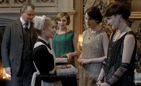 The Crawley family gathers at Downton Abbey for Christmas.