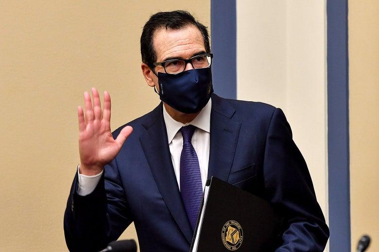 Steve Mnuchin in a face mask.