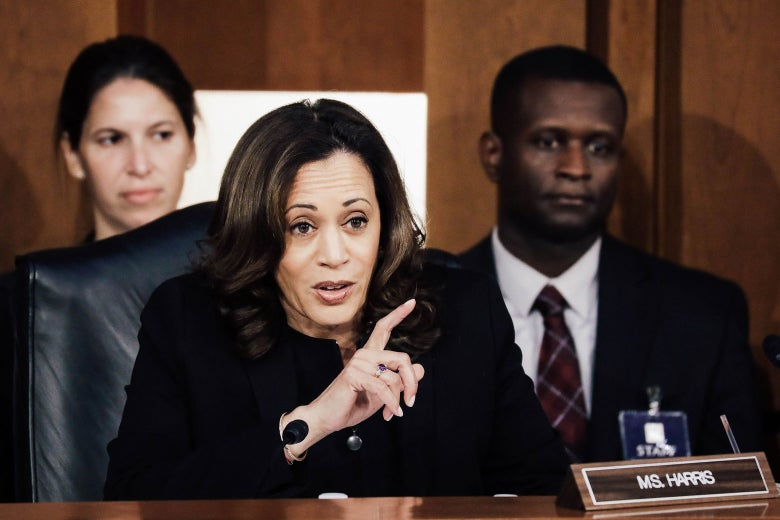 Sen. Kamala Harris questions Supreme Court nominee Judge Brett Kavanaugh on the third day of his Supreme Court confirmation hearing on Thursday.