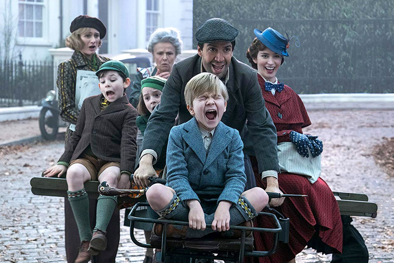Emily Mortimer, Julie Walters, Pixie Davies, Nathanael Saleh, Joel Dawson, Lin-Manuel Miranda, and Emily Blunt in Mary Poppins Returns.