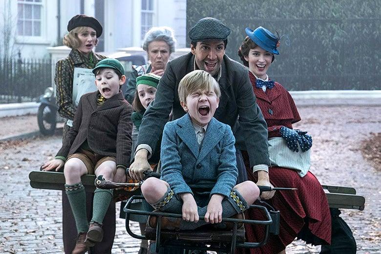 Emily Mortimer, Julie Walters, Pixie Davies, Nathanael Saleh, Joel Dawson, Lin-Manuel Miranda, and Emily Blunt in Mary Poppins Returns.