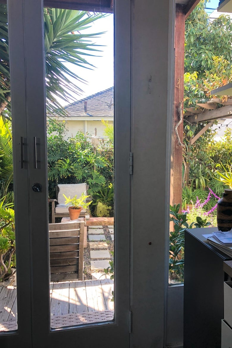 View of a lush backyard from a kitchen window.