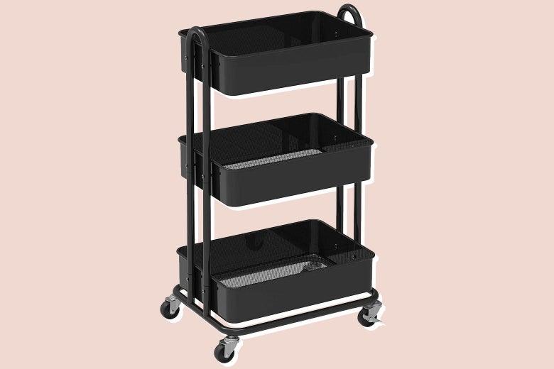 Three-tier rolling metal cart