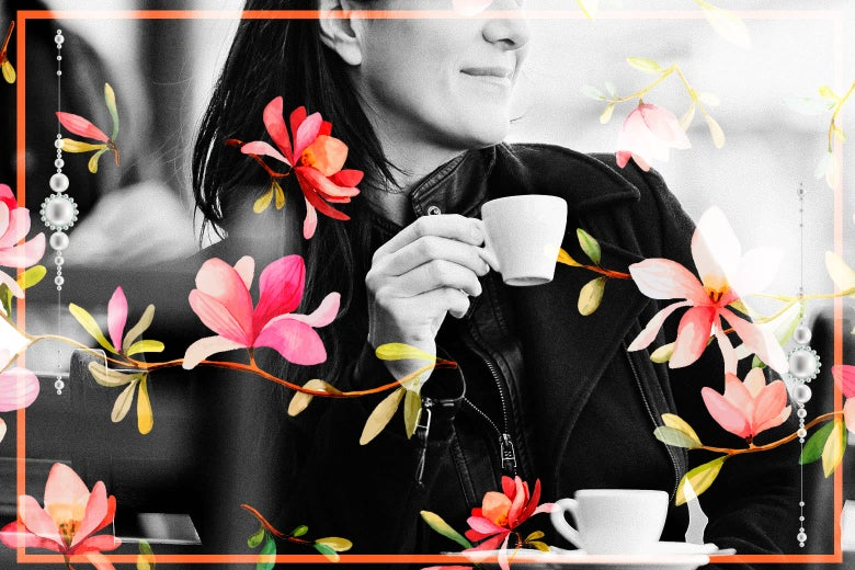 A woman drinking espresso at a sidewalk cafe.