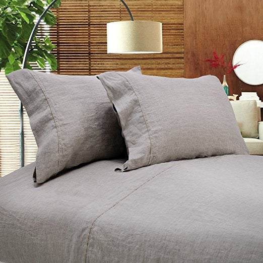 Gray Simple Opulence linen sheet set.