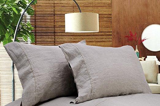 Gray Simple Opulence linen sheet set.