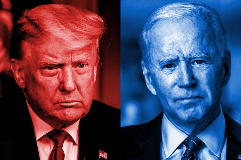Trump is seen in a red tint on the left and Biden is seen in a blue tint on the right.