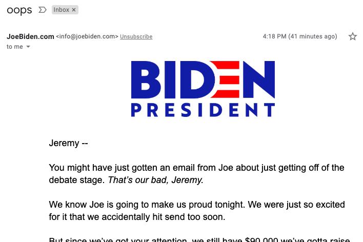 Screenshot of Joe Biden email acknowledging the error.