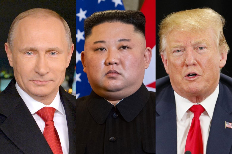 Vladimir Putin, Kim Jong-un, and Donald Trump.