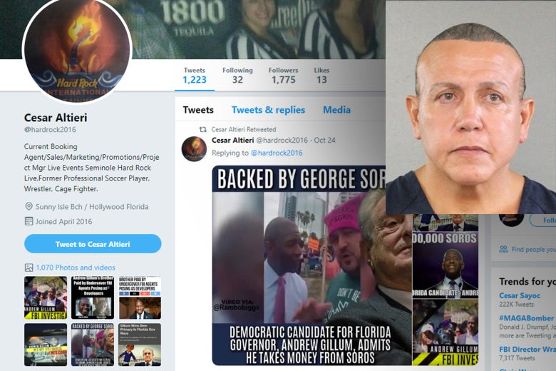 Cesar Sayoc's Twitter page, with his mugshot in the corner.