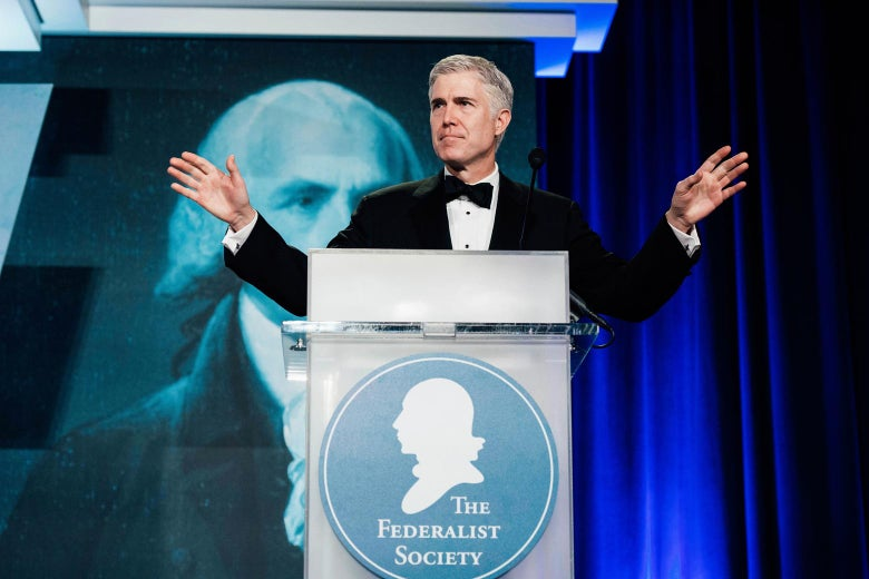 Neil Gorsuch speaks at the Federalist Society's 2017 National Lawyers Convention.
