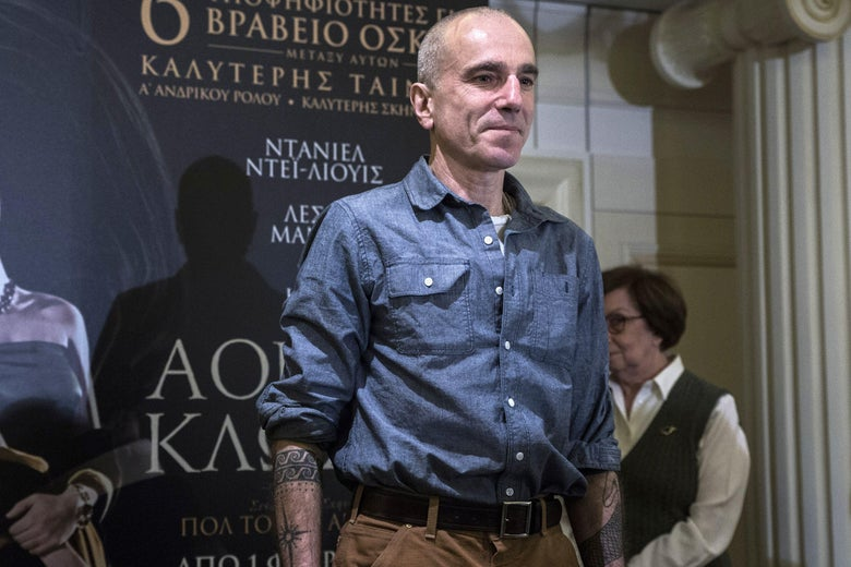 Oscar winning actor Daniel Day-Lewis arrives for a press conference for the premiere of his new film 'Phantom Thread' in Athens on February 1, 2018.