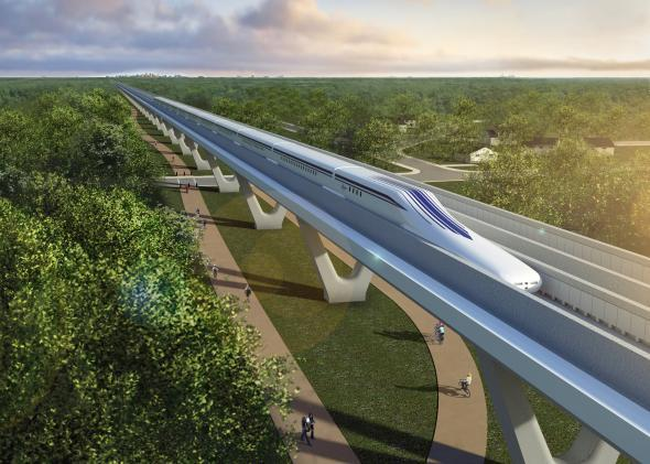 Maglev trains can travel upwards of 350 mph, floating inches above a guideway thanks to superconducting magnets.