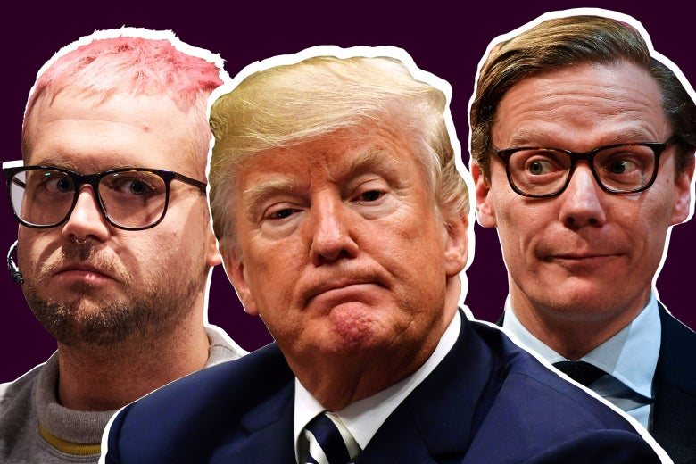 Cambridge Analytica whistleblower Christopher Wylie, US President Donald Trump, and Cambridge Analytica's chief executive officer Alexander Nix.