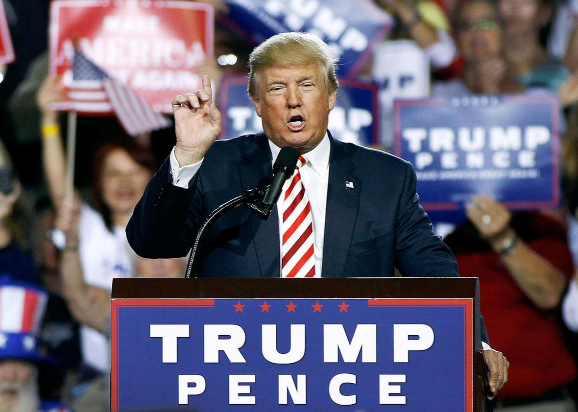 Republican presidential nominee Donald Trump speaks to a crowd of supporters during a campaign rally on October 4, 2016 in Prescott Valley, Arizona.  Trump spoke in Arizona ahead of tonights vice-presidential debate.