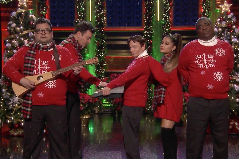 Jimmy Fallon Christmas Sweaters.Ariana Grande Joins Jimmy Fallon To Recreate I Wish It Was