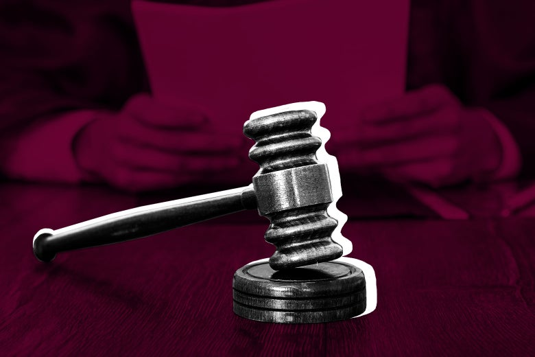Photo illustration of a gavel on the bench.