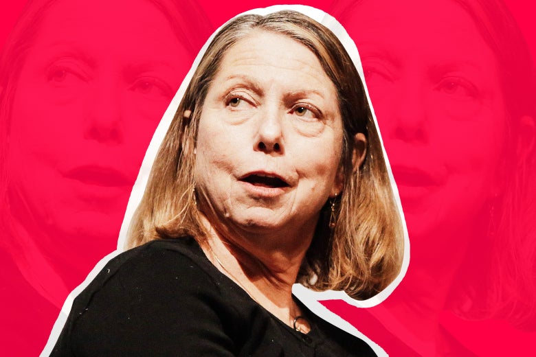 Jill Abramson on a pink background.
