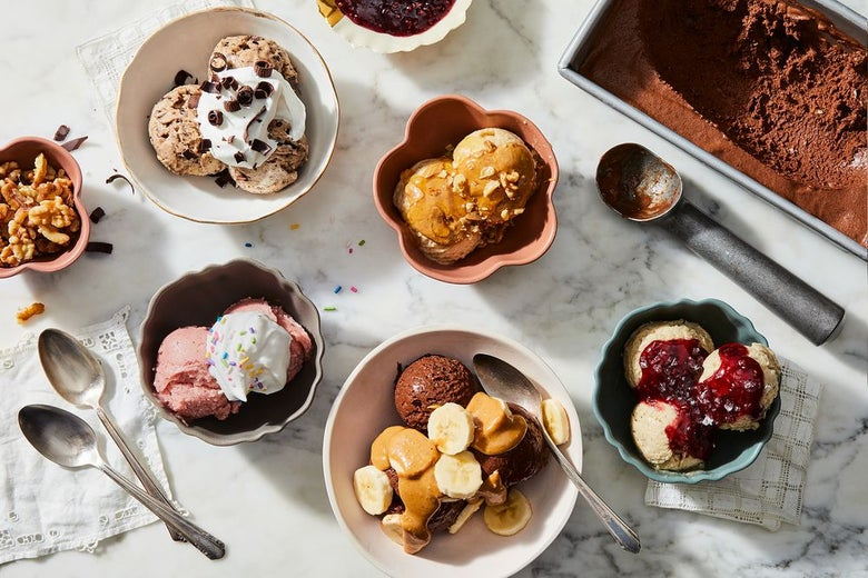 Bowls of ice cream with various sizes, colors, and toppings.