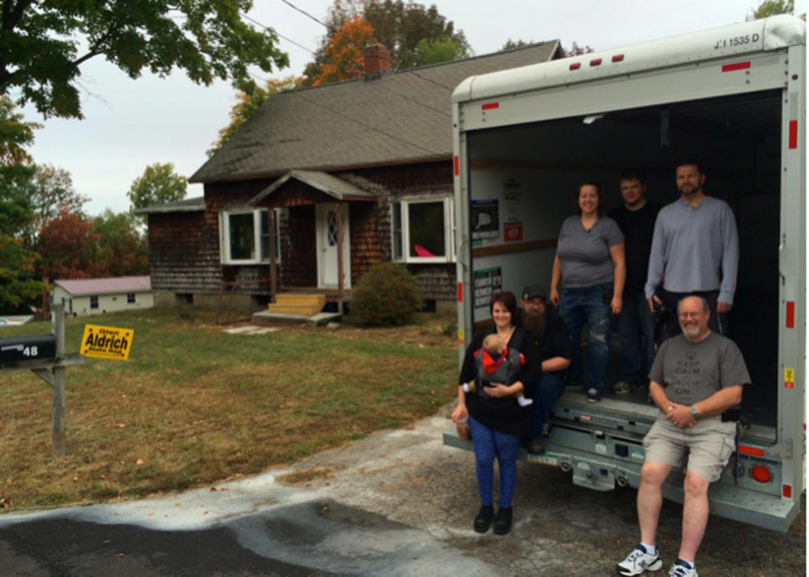 In one of six 'move-in' parties on a Saturday in September, Free Staters help the Dubravsky family move into their new home in New Hampshire.