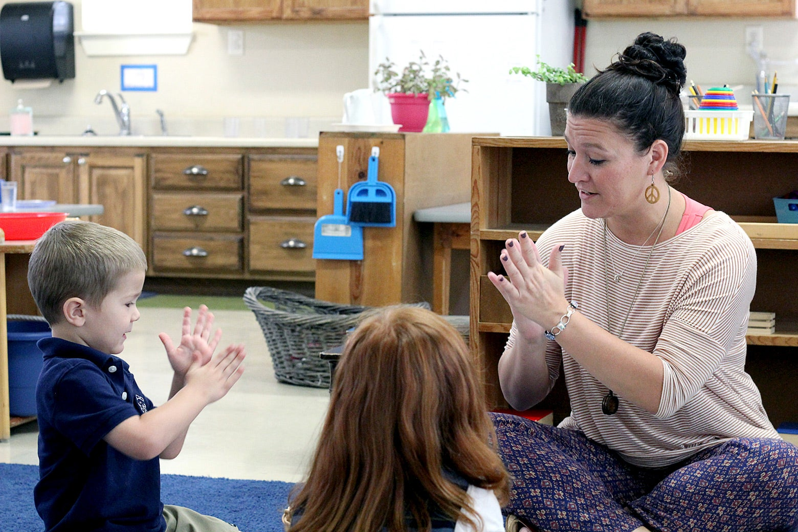 Rachel Rodriguez teaches a small-group lesson in her classroom at Hill Country Montessori in Boerne, Texas.