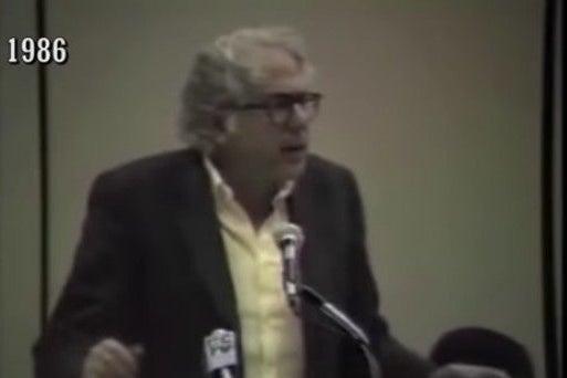 Screenshot of video of Bernie Sanders speaking in 1986.
