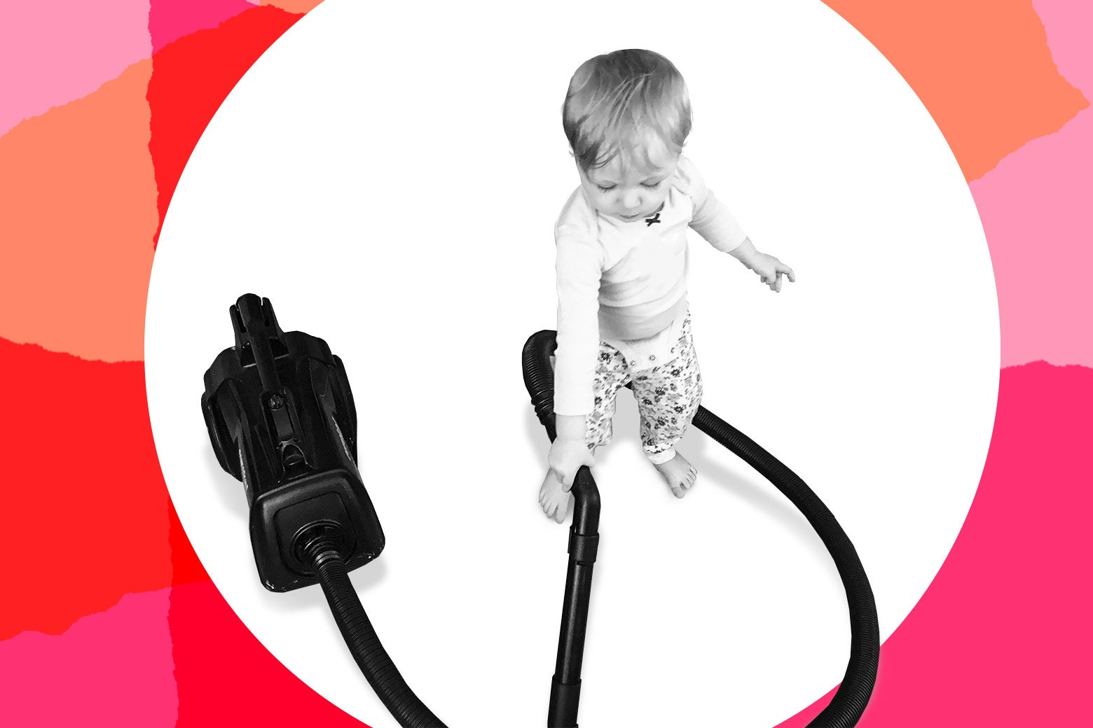 Photo illustration of a child playing with a vacuum.
