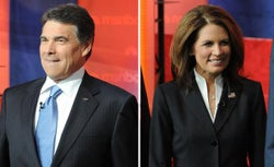 Republican presidential candidates, US Representative Michelle Bachmann and Texas Governor Rick Perry.