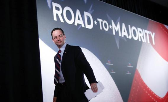 """Republican National Committee Chairman Reince Priebus leaves the stage after addressing the Faith and Freedom Coalition """"Road to Majority""""."""