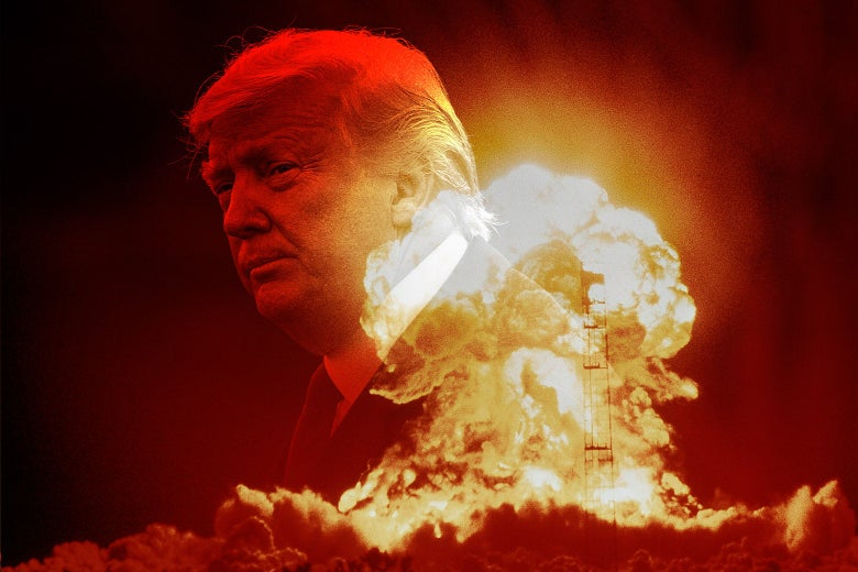 Photo illustration of a nuclear explosion with a faded image of Donald Trump superimposed.