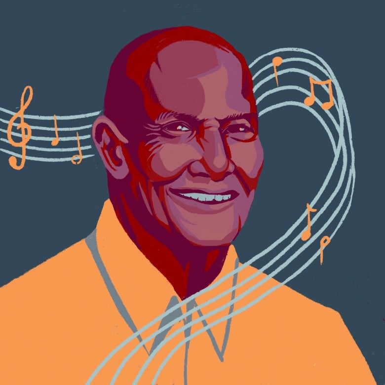 Harry Belafonte is enveloped by a musical staff featuring a treble clef.