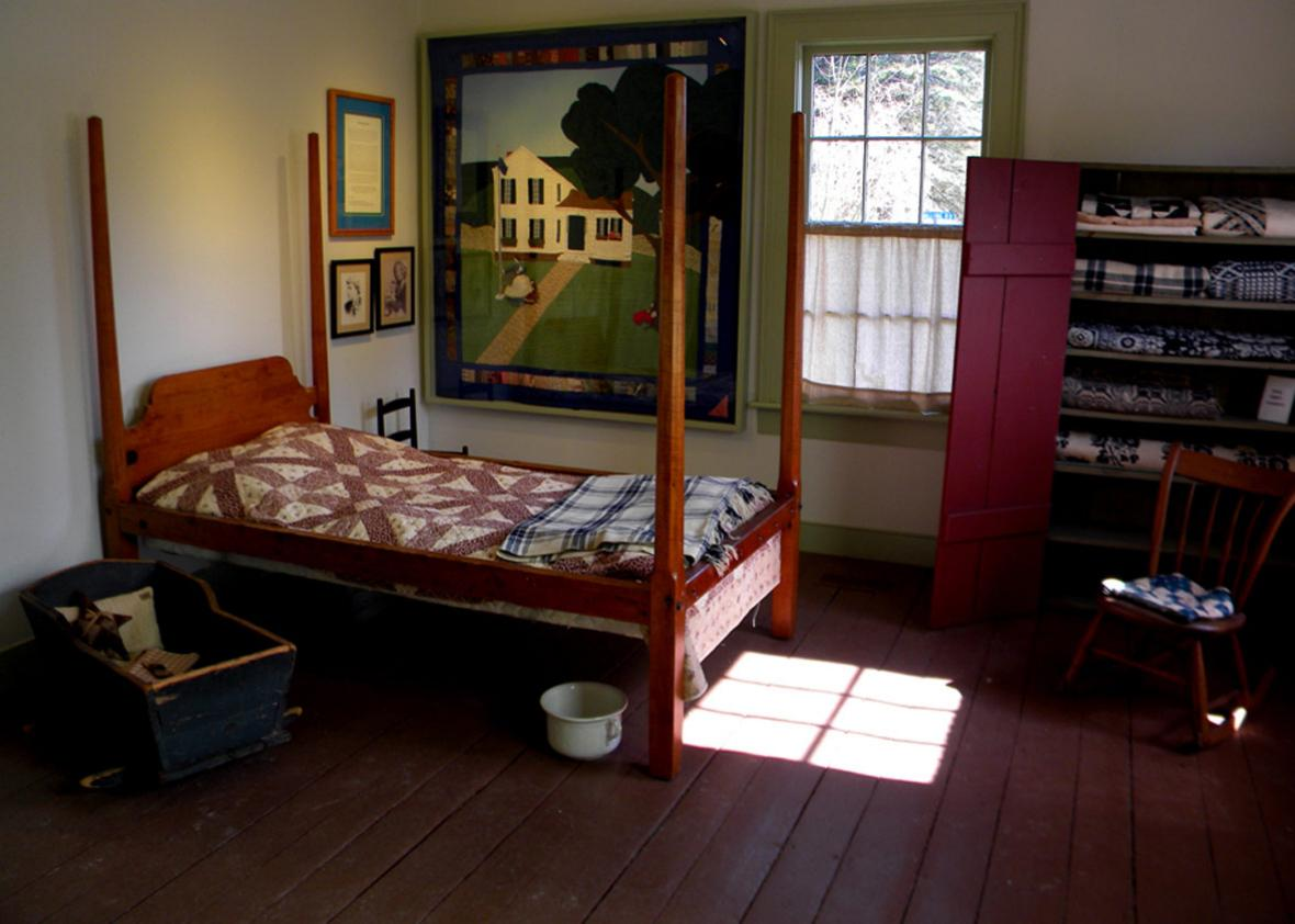 The birthing room inside the Susan B. Anthony Birthplace Museum.