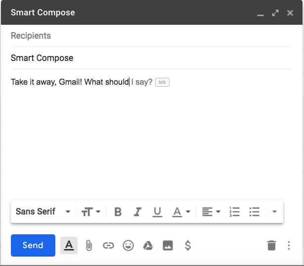 A Smart Compose Gmail window