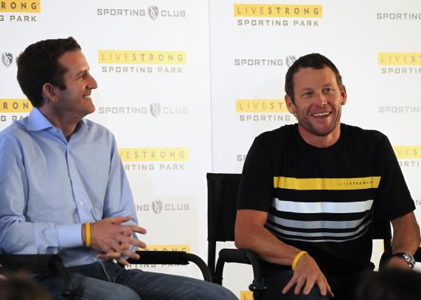 Livestrong CEO Doug Ulman and Lance Armstrong in Kansas City in 2011