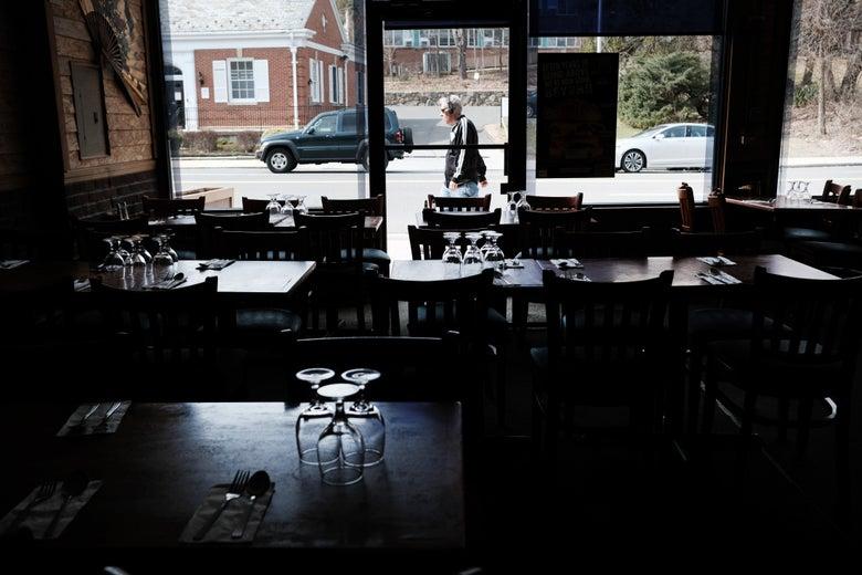 Empty restaurant tables.