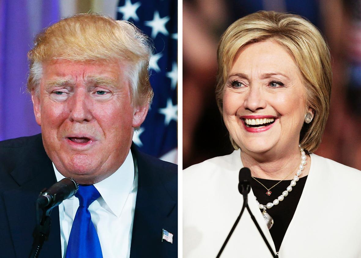 A combination photo shows Republican U.S. presidential candidate Donald Trump in Palm Beach, Florida and Democratic U.S. presidential candidate Hillary Clinton in Miami, Florida at their respective Super Tuesday primaries campaign events on March 1, 2016.