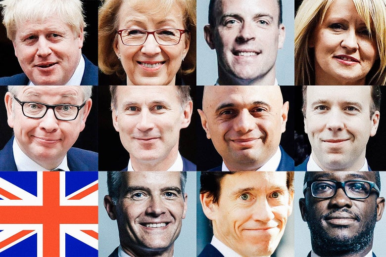 Boris Johnson, Andrea Leadsom, Dominic Raab, Esther McVey, Michael Gove, Jeremy Hunt, Sajid Javid, Matt Hancock, a British flag, Mark Harper, Rory Stewart, and Sam Gyimah.
