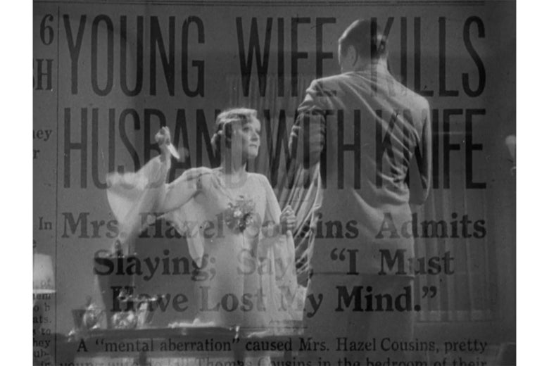 """Peg Entwistle, brandishing a knife, as the actor playing her husband collapses. The image is superimposed over a newspaper headlined """"YOUNG WIFE KILLS HUSBAND WITH KNIFE."""""""