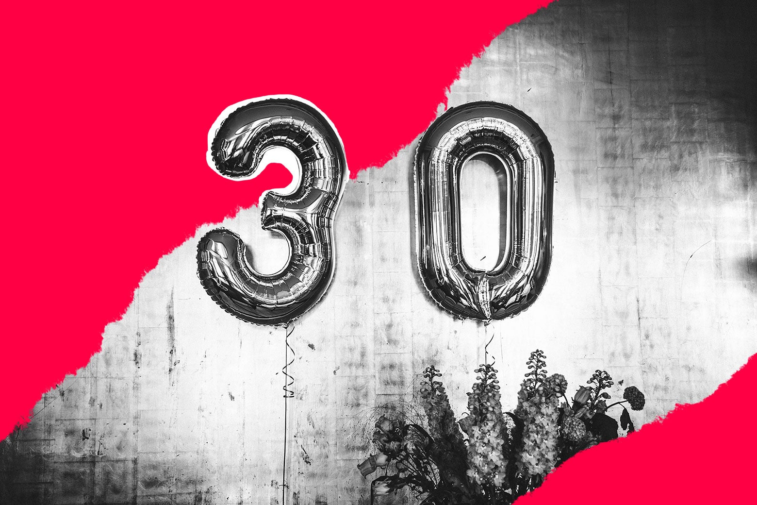 Balloons that spell out 30.